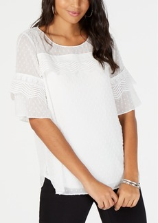 Alfani Textured-Dot Ruffle Blouse, Created for Macy's