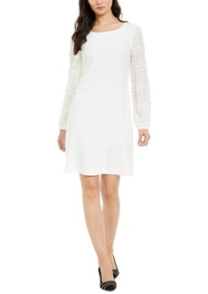 Alfani Textured-Sleeve Shift Dress, Created For Macy's