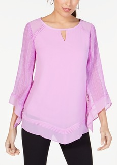 Alfani Textured V-Hem Top, Created for Macy's