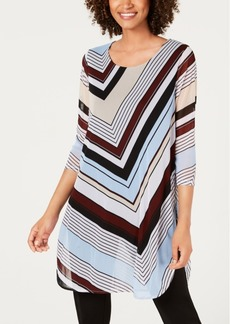 Alfani Three-Quarter-Sleeve Chevron Tunic