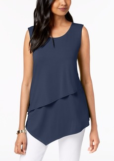 Alfani Petite Layered Asymmetrical Top, Created for Macy's