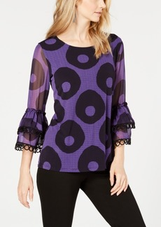 Alfani Tiered-Sleeve Lace-Trim Top, Created for Macy's
