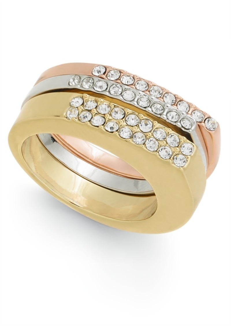 Alfani Tri-Tone 3-Pc. Set Pave Stackable Rings, Created for Macy's