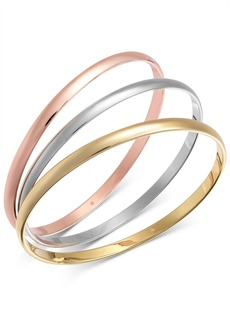 Alfani Tri-Tone 3-Pc. Set Polished Bangle Bracelets, Created for Macy's