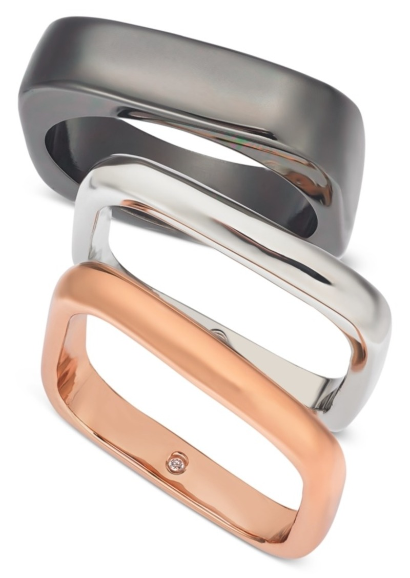 Alfani Tri-Tone 3-Pc. Set Square Stack Rings, Created For Macy's