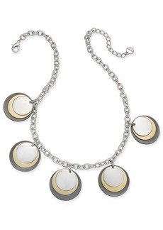 """Alfani Tri-Tone Disc Frontal Necklace, 17"""" + 2"""" extender, Created for Macy's"""