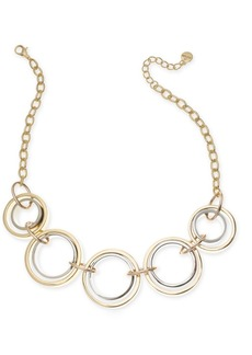 "Alfani Tri-Tone Link Frontal Necklace, 17"" + 2"" extender, Created for Macy's"