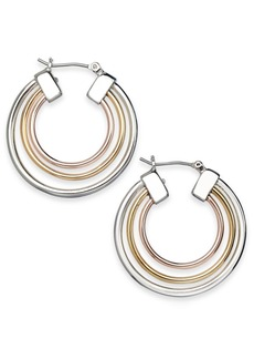 Alfani Tri-Tone Triple-Row Hoop Earrings, Created for Macy's