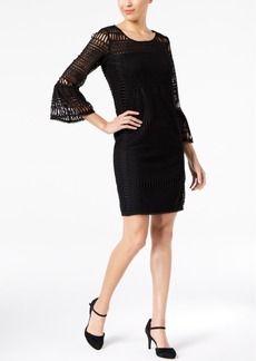Alfani Trumpet-Sleeve Crochet Dress, Created for Macy's