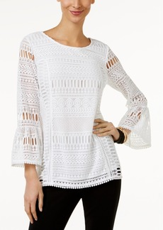 Alfani Trumpet-Sleeve Lace Blouse, Only at Macy's
