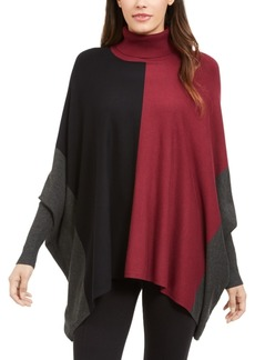 Alfani Turtleneck Colorblock Poncho Sweater, Created for Macy's