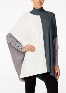 Alfani Turtleneck Colorblock Poncho Sweater, Created for Macy's
