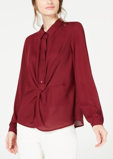 Alfani Twist-Front Button-Up Top, Created for Macy's