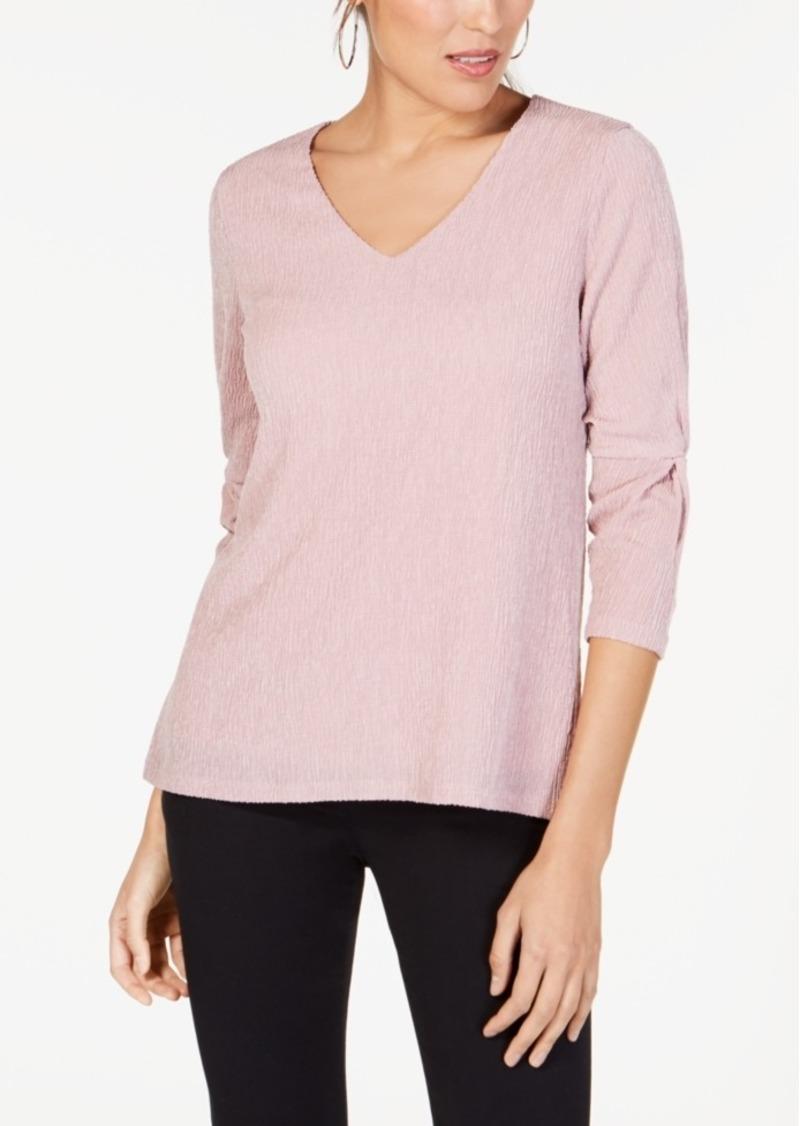 Alfani Twist-Sleeve Textured Top, Created for Macy's