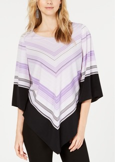 Alfani V-Hem Colorblocked Top, Created for Macy's