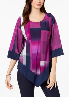 Alfani Petite V-Hem Geometric-Print Top, Created for Macy's
