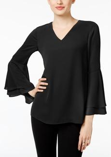 Alfani V-Neck Poet-Sleeve Top, Created for Macy's