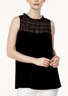 Alfani Petite Embellished-Illusion Velvet Top, Created for Macy's