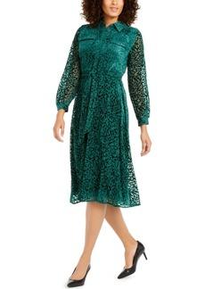 Alfani Velvet Burnout Belted Shirtdress, Created For Macy's