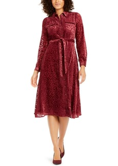 Alfani Velvet Burnout Belted Shirtdress, Created For Macy's