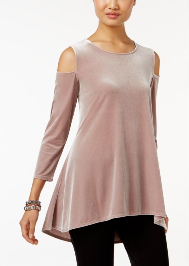 Alfani Velvet Cold-Shoulder Top, Only at Macy's