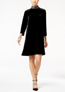 Alfani Velvet Embellished Mock-Neck Dress, Only at Macy's