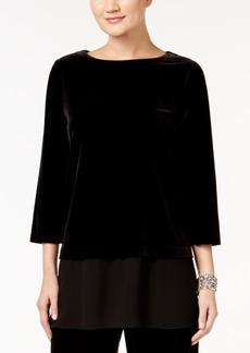 Alfani Petite Velvet Layered-Look Top, Only at Macy's