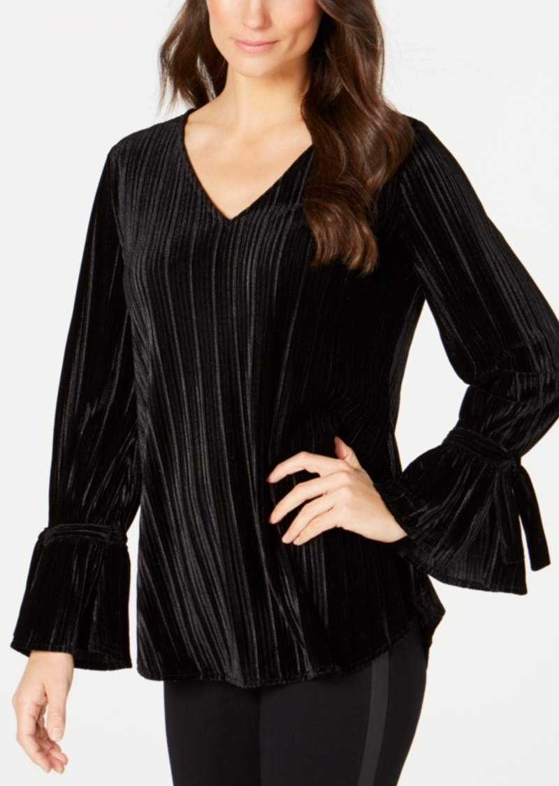 Alfani Velvet Pleated Top, Created for Macy's