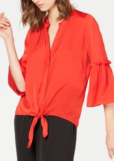 Alfani Washed-Satin Tie-Front Blouse, Created for Macy's