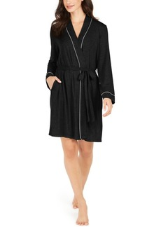 Alfani Women's Contrast Trim Short Robe, Created for Macy's