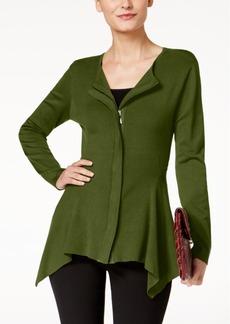 Alfani Zip-Front Handkerchief-Hem Cardigan, Created for Macy's