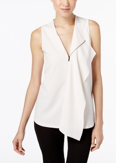 Alfani Zipped Drape-Front Top, Only at Macy's