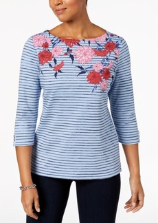 Karen Scott Petite Mixed-Print Boat-Neck Top, Created for Macy's