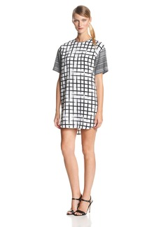 Ali Ro Women's Short Sleeve Color Block Shirt Dress