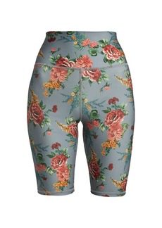 Alice + Olivia Aaron High-Rise Floral Bike Shorts