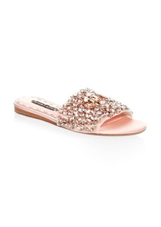 Alice + Olivia Abbey Satin Embellished Slides