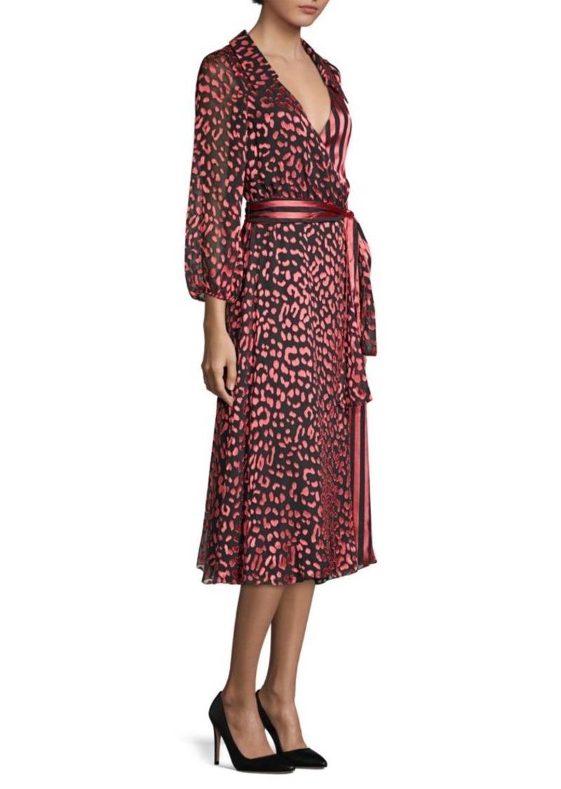 Alice + Olivia Abigail Metallic Leopard & Stripe Stretch Silk Wrap Dress