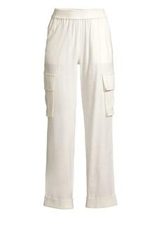 Alice + Olivia Alex Rolled Cuff Linen-Blend Cargo Pants
