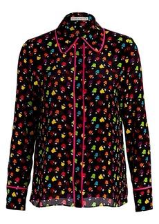 Alice + Olivia Alfie Multicolor-Print Silk Chiffon Shirt