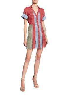 Alice + Olivia Abelia V-Neck Button-Down Mini Shirtdress