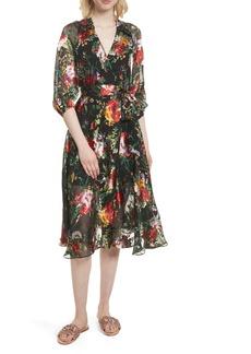 Alice + Olivia Abney Floral Wrap Shirtdress