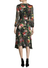 Alice + Olivia Abney V-Neck Floral-Print Wrap Shirtdress