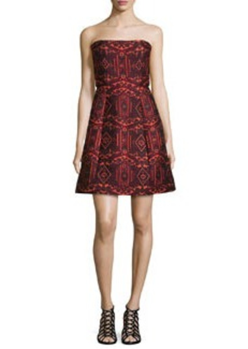Alice + Olivia Nikki Strapless Tribal-Print Dress