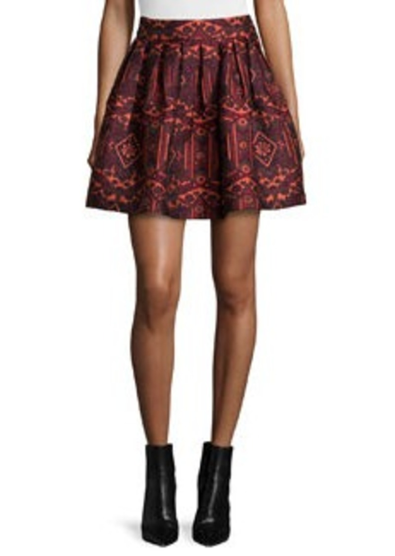 Alice + Olivia Stora Pleated Tribal-Print Skirt