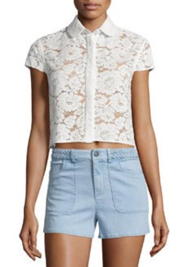 Alice + Olivia Loni Short-Sleeve Lace Top