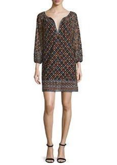 Alice + Olivia Gillian 3/4-Sleeve Embroidered Mini Dress