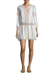 Alice + Olivia Jolene Embroidered Smocked Dress