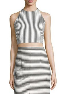 Alice + Olivia Jaymee Striped Cropped Halter Top
