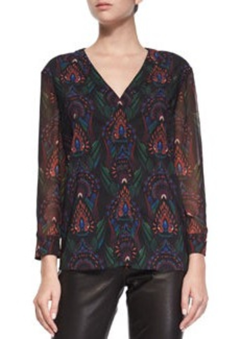 Alice + Olivia Fall Garden V-Neck Chiffon Blouse