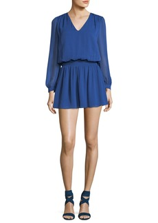 Alice + Olivia Adaline V-Neck Smocked Waist Chiffon Mini Dress